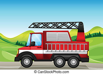 The utility truck at the road near the hills - Illustration...