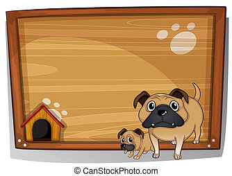 Two bulldogs beside a wooden board - Illustration of the two...