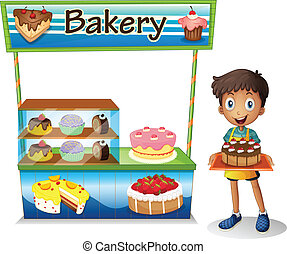 A boy selling cakes - Illustration of a boy selling cakes on...