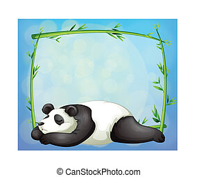 A sleeping panda and the empty frame made of bamboo