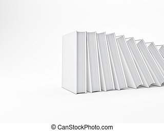 fallen books - 3d image of white books background