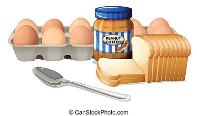 A bread with peanut butter and eggs - Illustration of a...