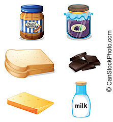 Different foods with vitamins and minerals - Illustration of...