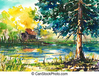 Lake - Watercolors painted landscape -house near the lake....