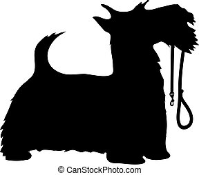 Scotty Dog and Leash - A black silhouette profile of a...