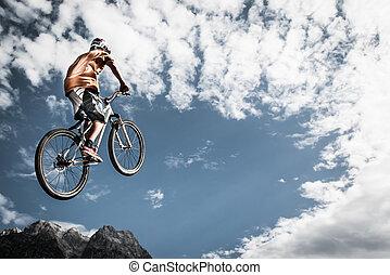jovem, Menino, pulos, alto, seu, bicicleta, frente,...