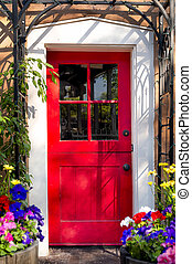 Red Door on Canyon Road - Vintage red door at the entrance...