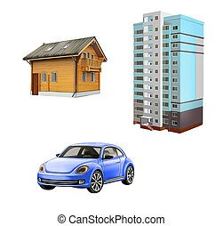Wooden Cottage, Blue little car, skyscraper, apartment...