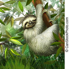 sloth, three toe male juvenile hanging in tree in tropical...