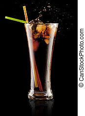 fresco, cola, jugo, hielo, cubos, salpicadura, vidrio,...