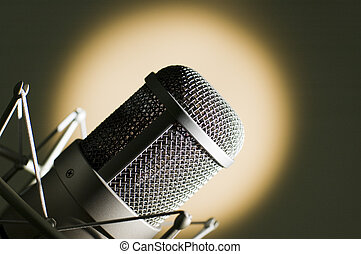Microphone in studio Yellow light