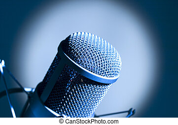 Microphone in studio Dark blue light