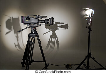 TV the chamber in studio Searchlight and silhouette of the...