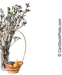 easter basket with blooming twigs of ledum with copy space