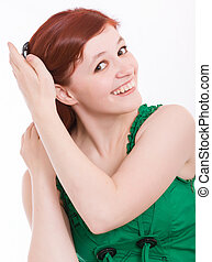 young woman in a green dress