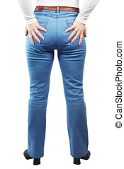 Female Legs Dressed In Blue Jeans View From The Back