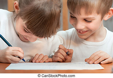 children draw - children paint pen on paper