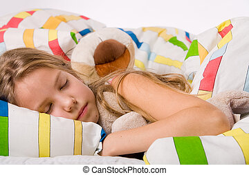 Cute sleeping child - Sleeping young cute child in a...