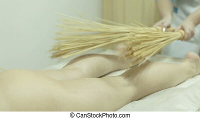 Massage by thin bamboo sticks