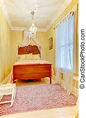 Bedroom interior with antique bed and white floor
