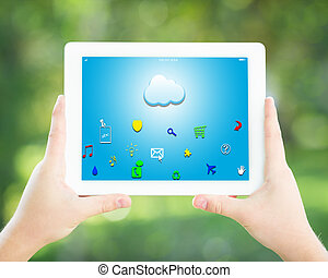 Man hands holding tablet PC