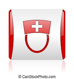 nurse red and white square web glossy icon