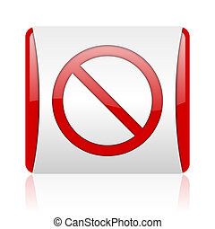 access denied red and white square web glossy icon