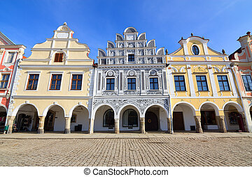 Historical colorful houses in the town center of Telc in...