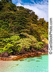 Granite rocky beaches on Chang islands, Thailand