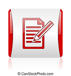 subscribe red and white square web glossy icon
