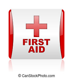 first aid red and white square web glossy icon