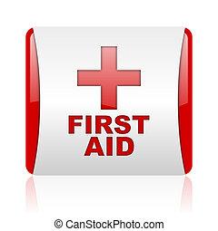 primeiro, ajuda, vermelho, branca, quadrado, teia, lustroso,...