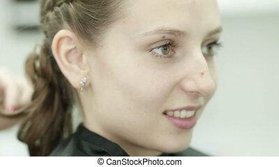 Piling of hair Satisfied girl