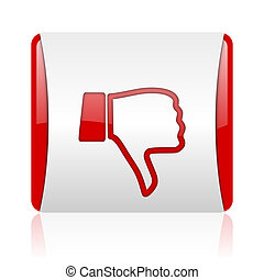 thumb down red and white square web glossy icon