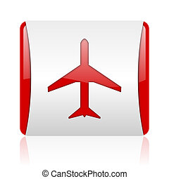 airplane red and white square web glossy icon