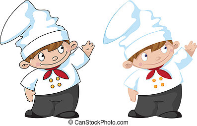 little cute cook - illustration of a little cute cook