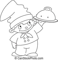 small cook with tray outlined - illustration of a small cook...