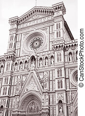 Duomo Cathedral Church, Florence, Italy in Black and White...