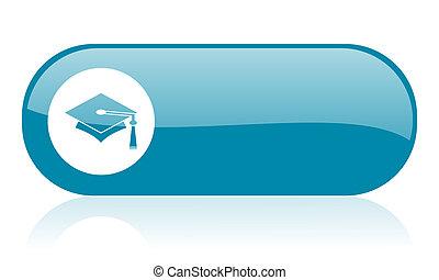 graduation blue web glossy icon
