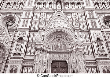 Duomo Cathedral Church; Florence - Facade of Duomo Cathedral...
