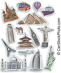 Travel and vacation stickers set. Contains transparent...