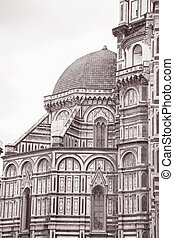 Facade of Duomo Cathedral Church; Florence; Italy in Black...
