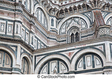 Facade of Duomo Cathedral Church, Florence - Detail on...
