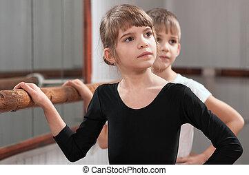 niños, aprender, baile, ballet, Barre