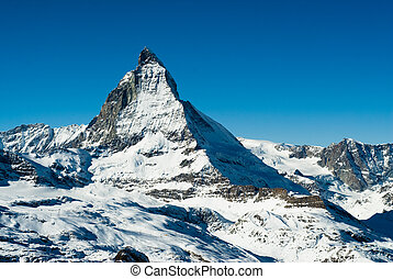matterhorn - View of the matterhorn in winter, Gornergrat,...