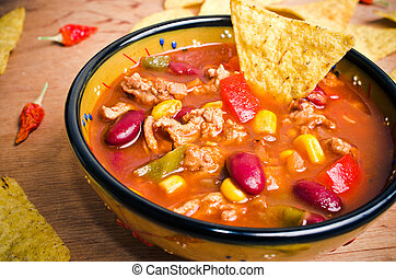 Mexican soup with tacos - Mexican soup like chili con carne...