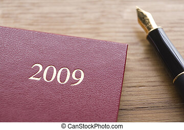 2009 Diary And Fountain Pen - Red Leather 2009 Diary And...