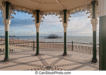 Brighton West Pier seen through victorian bandstand....
