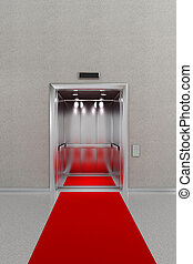 Open elevator with red carpet - Business lobby with open...
