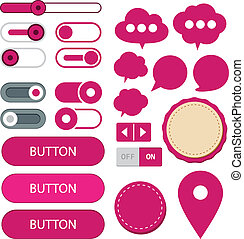 Flat web design elements. - Vector illustration of fuchsia...